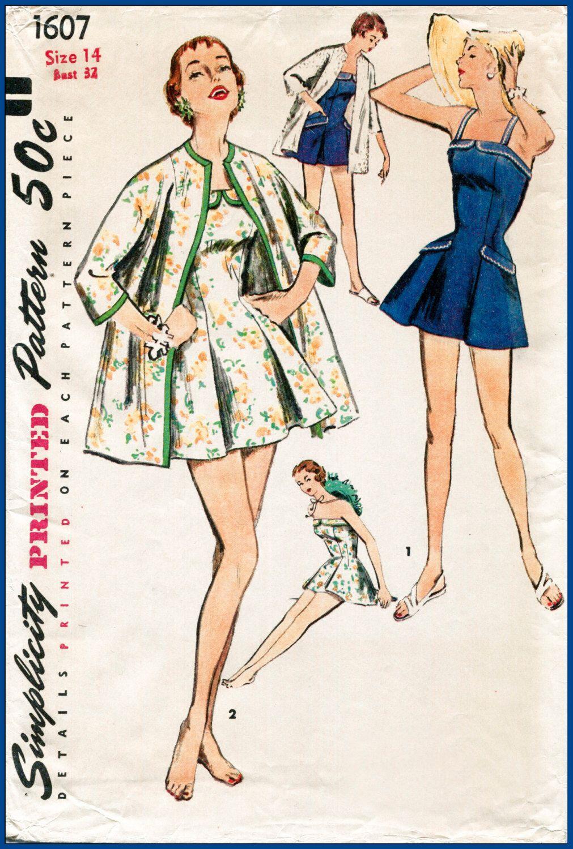 1950s 50s vintage sewing pattern beach coat swim bathing romper ...