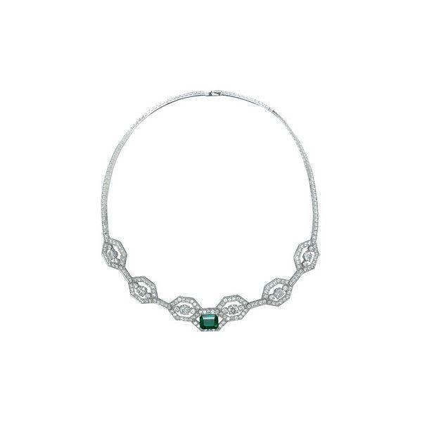 Betteridge: Boucheron Emerald & Diamond Collar Necklace ❤ liked on Polyvore featuring jewelry, necklaces, emerald, emerald necklace, boucheron jewelry, emerald jewelry and boucheron