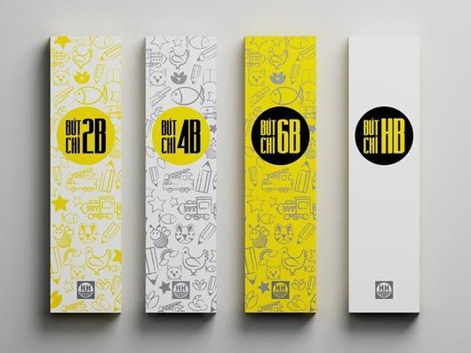 #pencil #packaging #black #white #yellow #graphic