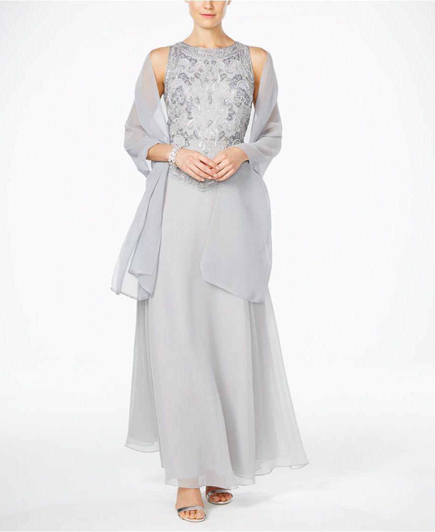J Kara Hand-Beaded Chiffon Gown And Scarf