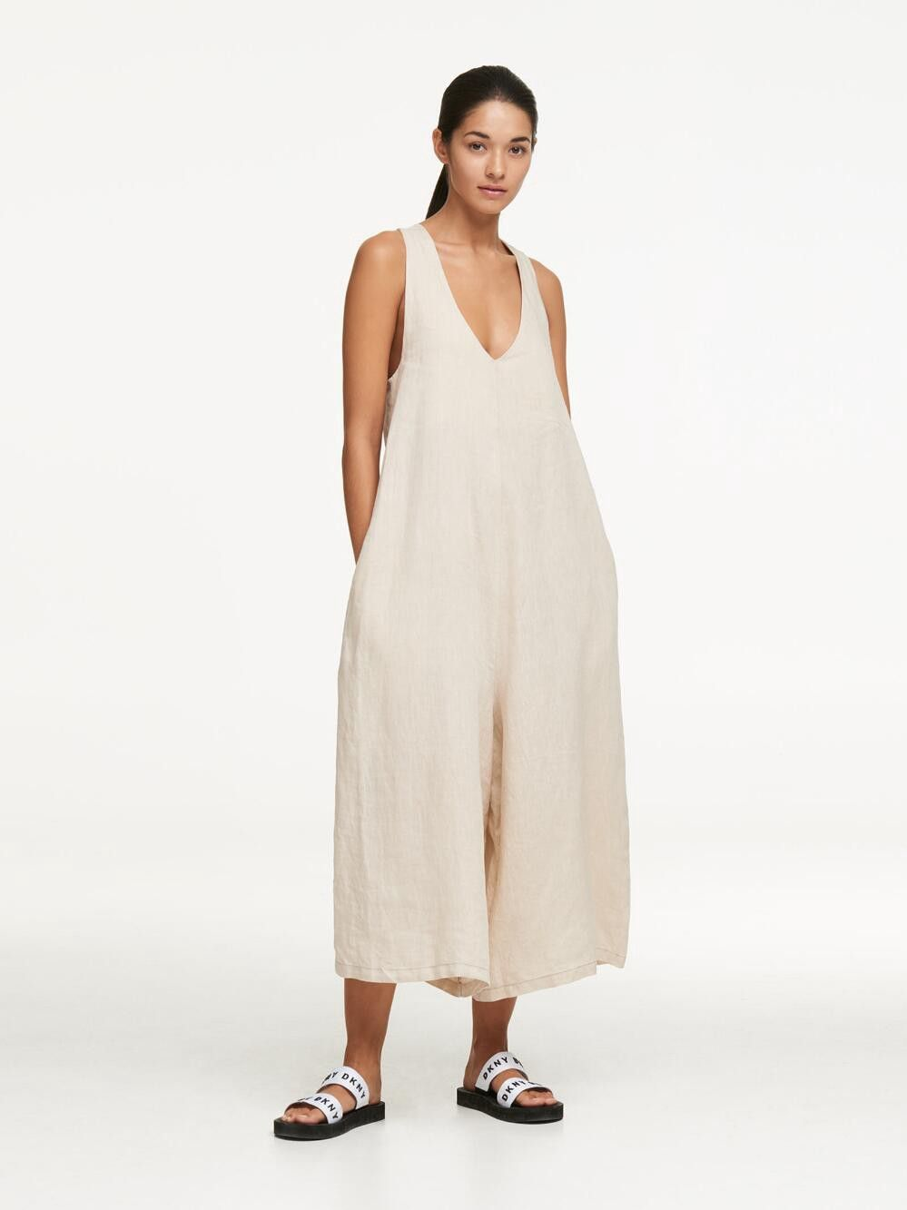 0900aba60bcf Dkny Linen Tie Back Oversized Jumpsuit - Natural Xx-Small