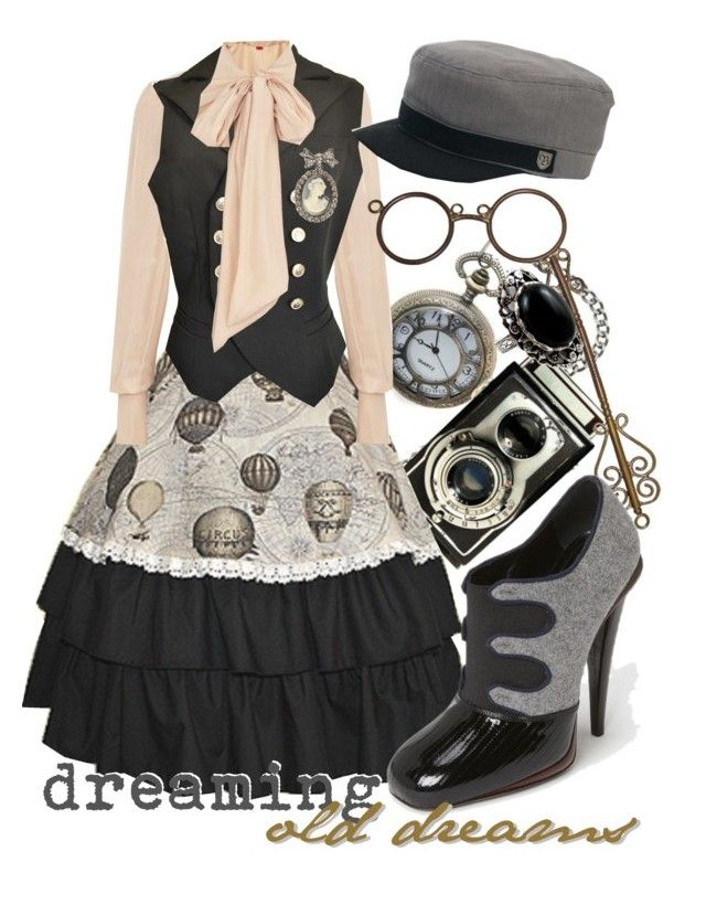 """dreaming old dreams"" by princesschandler ❤ liked on Polyvore featuring moda, Vivienne Westwood Red Label, Brixton y Fendi"