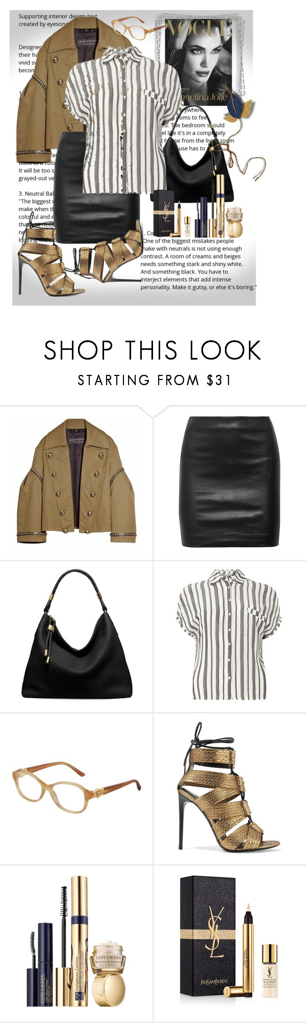"""stripe"" by metka-belina ❤ liked on Polyvore featuring Burberry, The Row, Michael Kors, Dorothy Perkins, Versace, Tom Ford, Estée Lauder and Yves Saint Laurent"