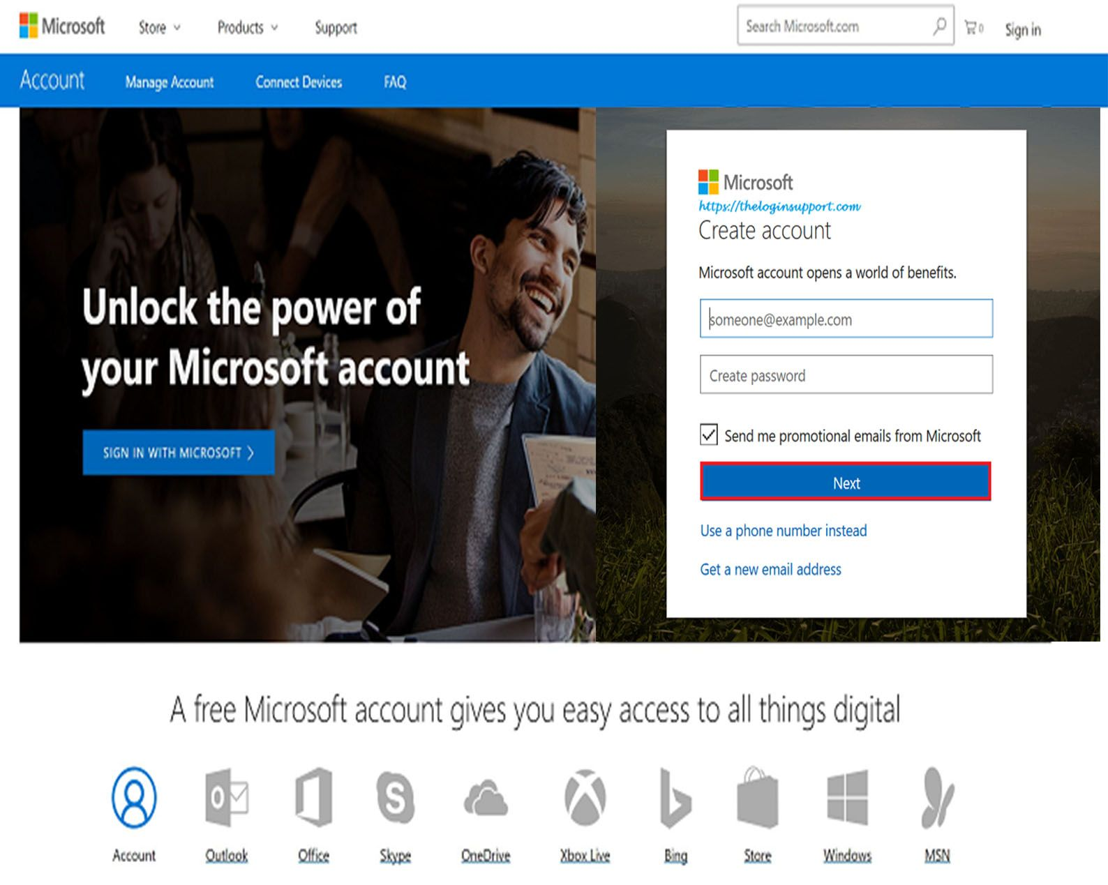 Microsoft Account Sign Up Microsoft Create Yourself Sign Up Page Live com login email account