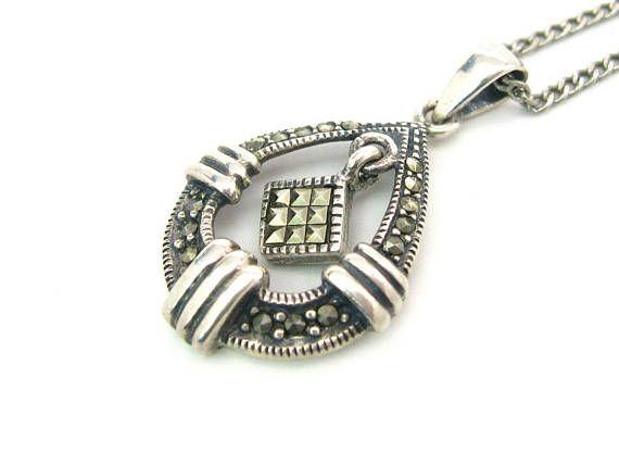 Teardrop marcasite pendant necklace sterling silver 925 silver teardrop marcasite pendant necklace sterling silver 925 aloadofball Images
