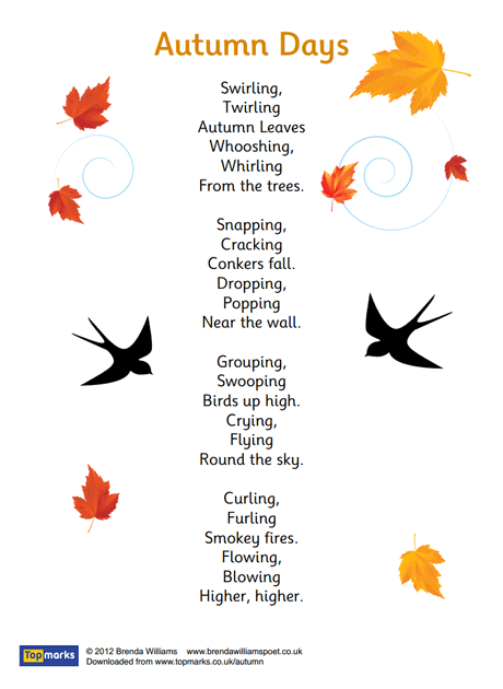 Autumn Days Poem Homeschool Language Arts Autumn Autumn