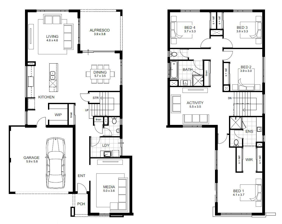 Double Storey Breakthrough Range Perth Apg Homes House Floor Plans Bedroom House Plans Two Story House Plans