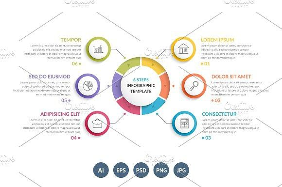 Circle Diagram with 6 Elements   Circle diagram, Infographics and ...