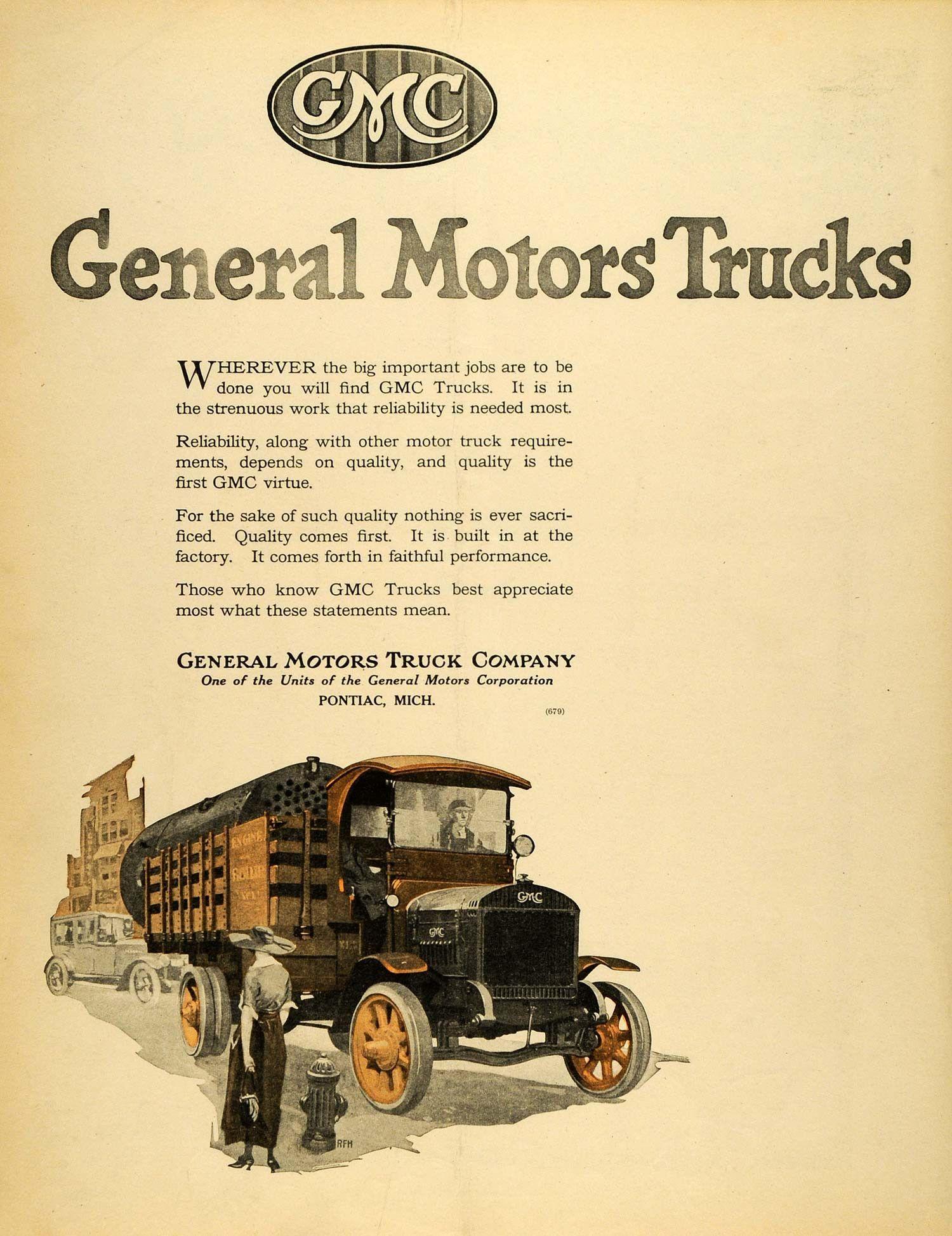 1920 Ad Gmc Pontiac Michigan General Motors Trucks Cargo Vintage