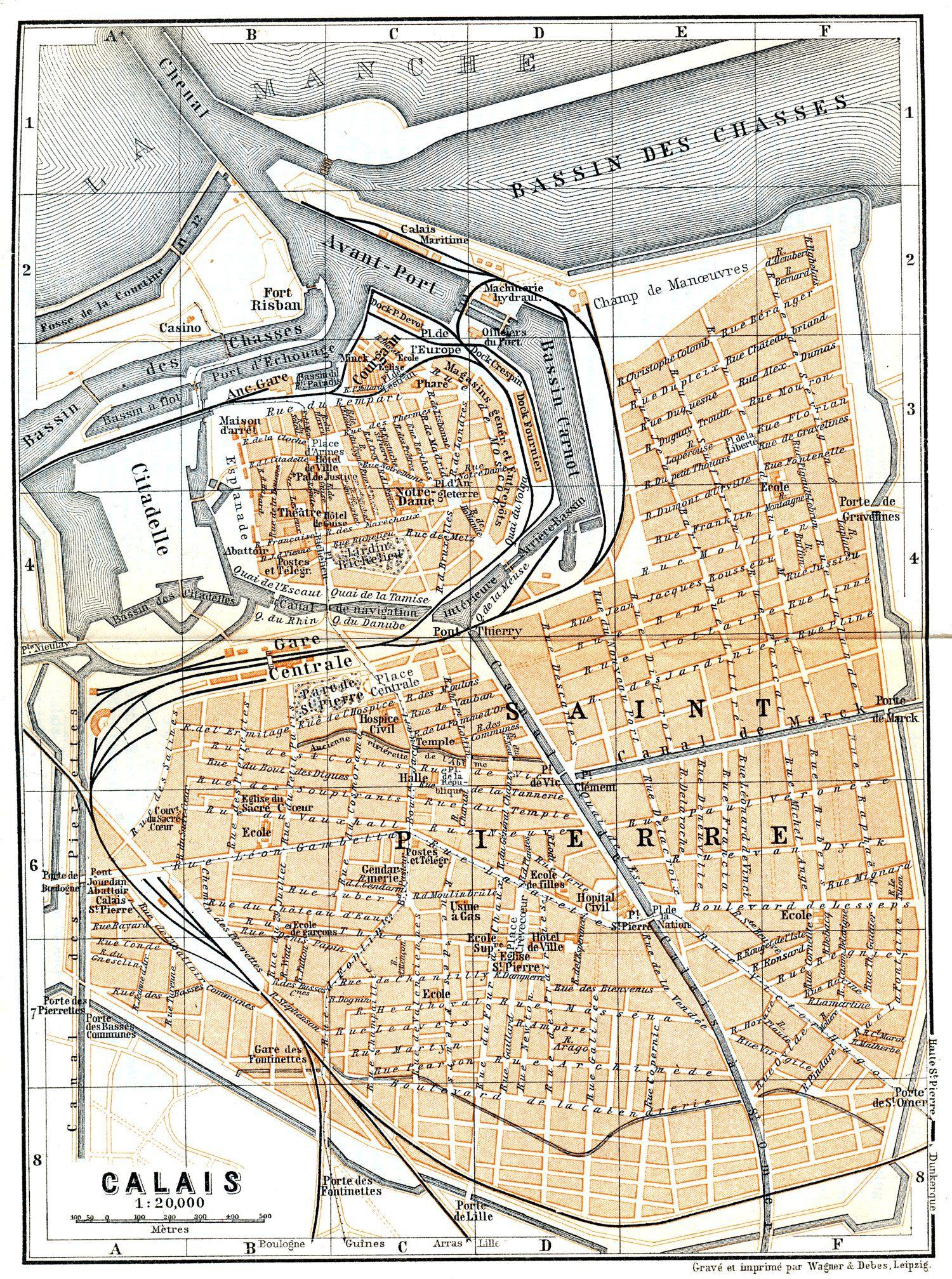 Calais, France - 1899 | Cartes anciennes, Carte et plan ...