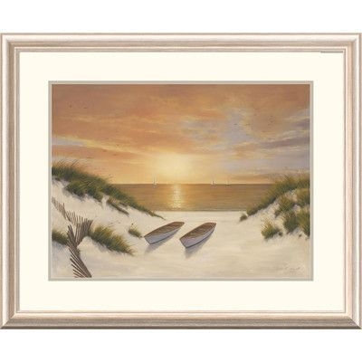 "Global Gallery 'Coastal Sunset Serenade' by Diane Romanello Framed Graphic Art Size: 26"" H x 32"" W x 1.5"" D"