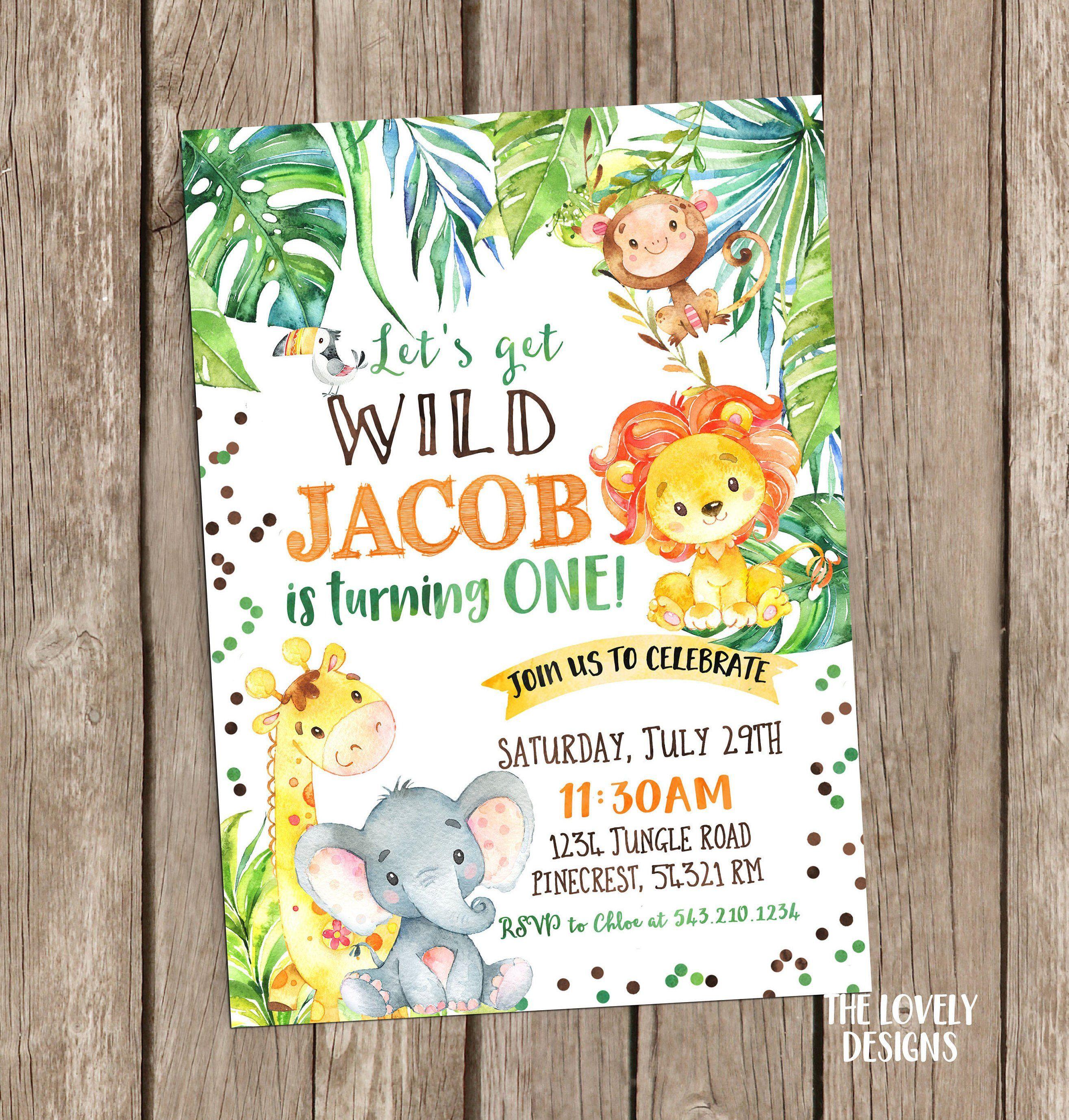 jungle invitation safari birthday