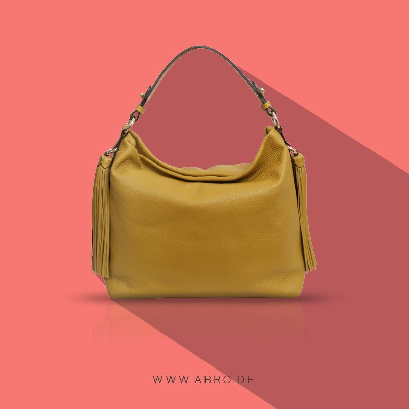 Hobo Leather Bag Yellow Tassels Abro Fashion Handtasche