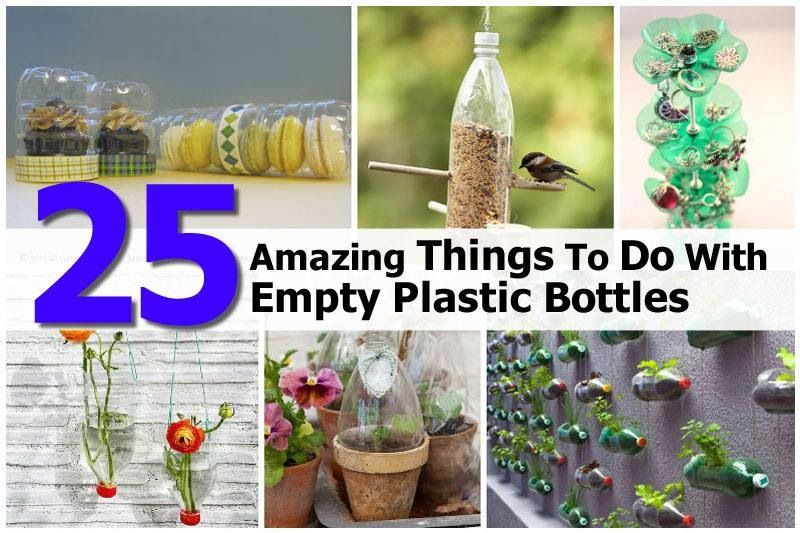 There's many uses for your empty water bottles and soda bottles!!!!!!!!   Some include a bird feeder, a jewelry tree and even a mini greenhouse for your plants.    http://www.diyprojectsworld.com/25-amazing-things-to-do-with-empty-plastic-bottles.html