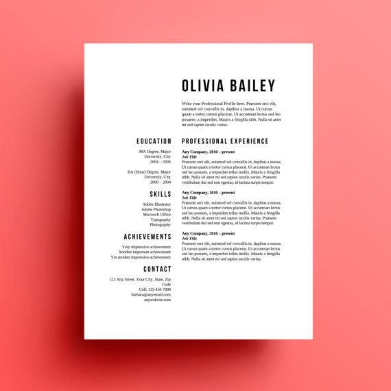 Resume Template Cover Letter Instant Download  Template