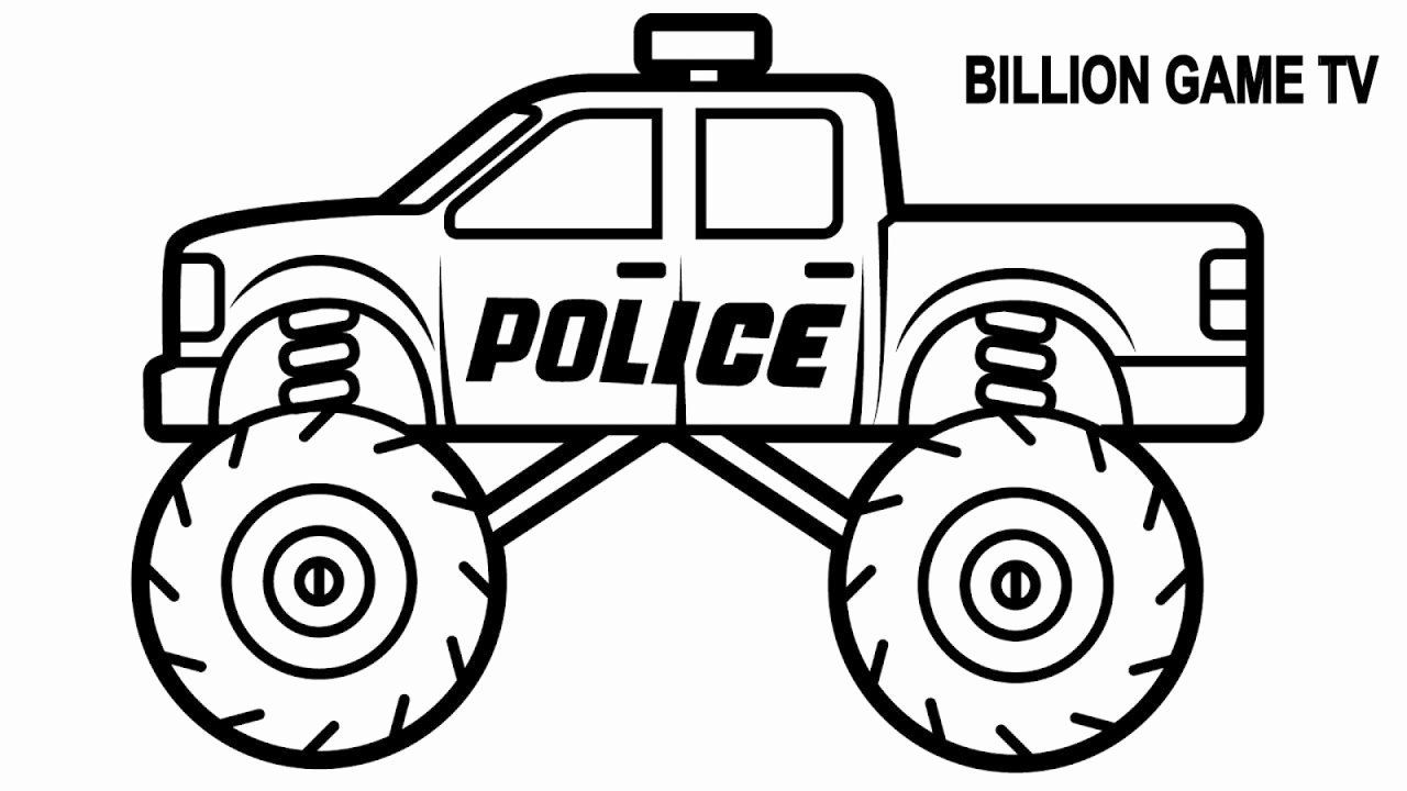 Kids Car Coloring Pages Luxury Police Monster Truck Coloring Book For Kids In 2020 Monster Truck Coloring Pages Cars Coloring Pages Truck Coloring Pages