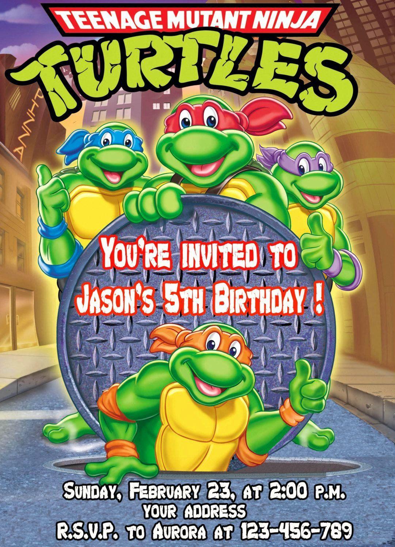 Ninja Turtles Birthday Invitation Luxury Teenage Mutant Ninja Turtl Turtle Birthday Invitations Printable Birthday Invitations Ninja Birthday Party Invitations