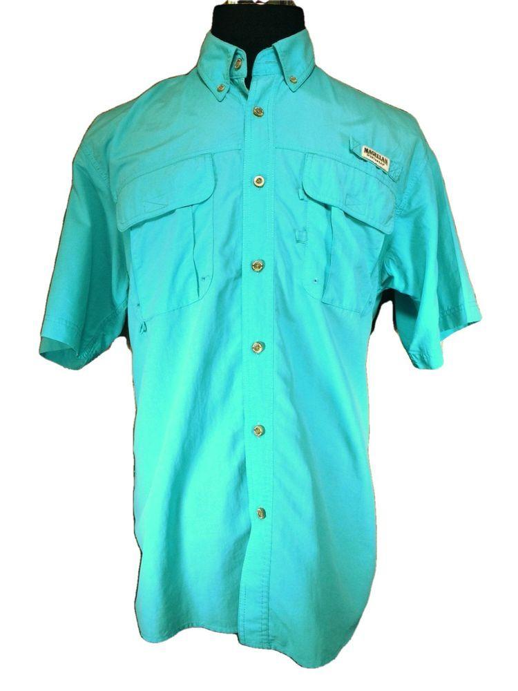 Magellan Fishing Shirt Mens LARGE Turquoise Blue Vented Mesh Nylon Button Down #Magellan #ButtonFront