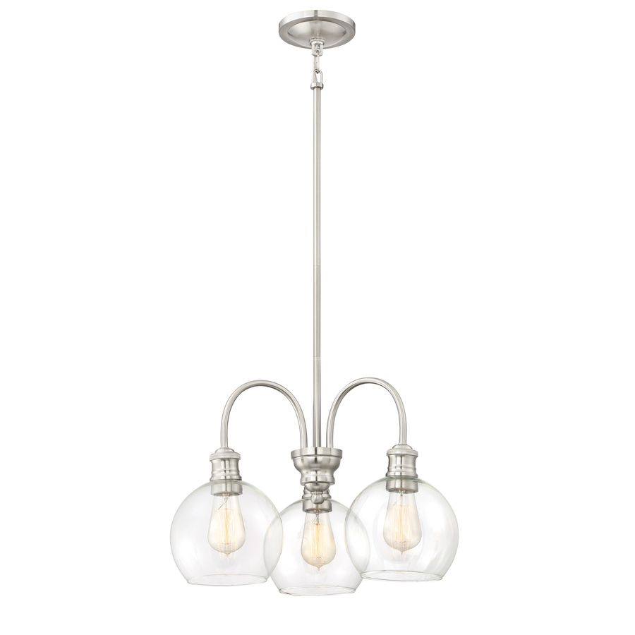 Quoizel Soho 19 75 In 3 Light Brushed Nickel Industrial Clear Glass Tiered Chandelier At Lowes