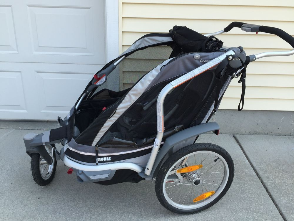 Thule Chariot Chinook 2, Black Double Stroller and Bike