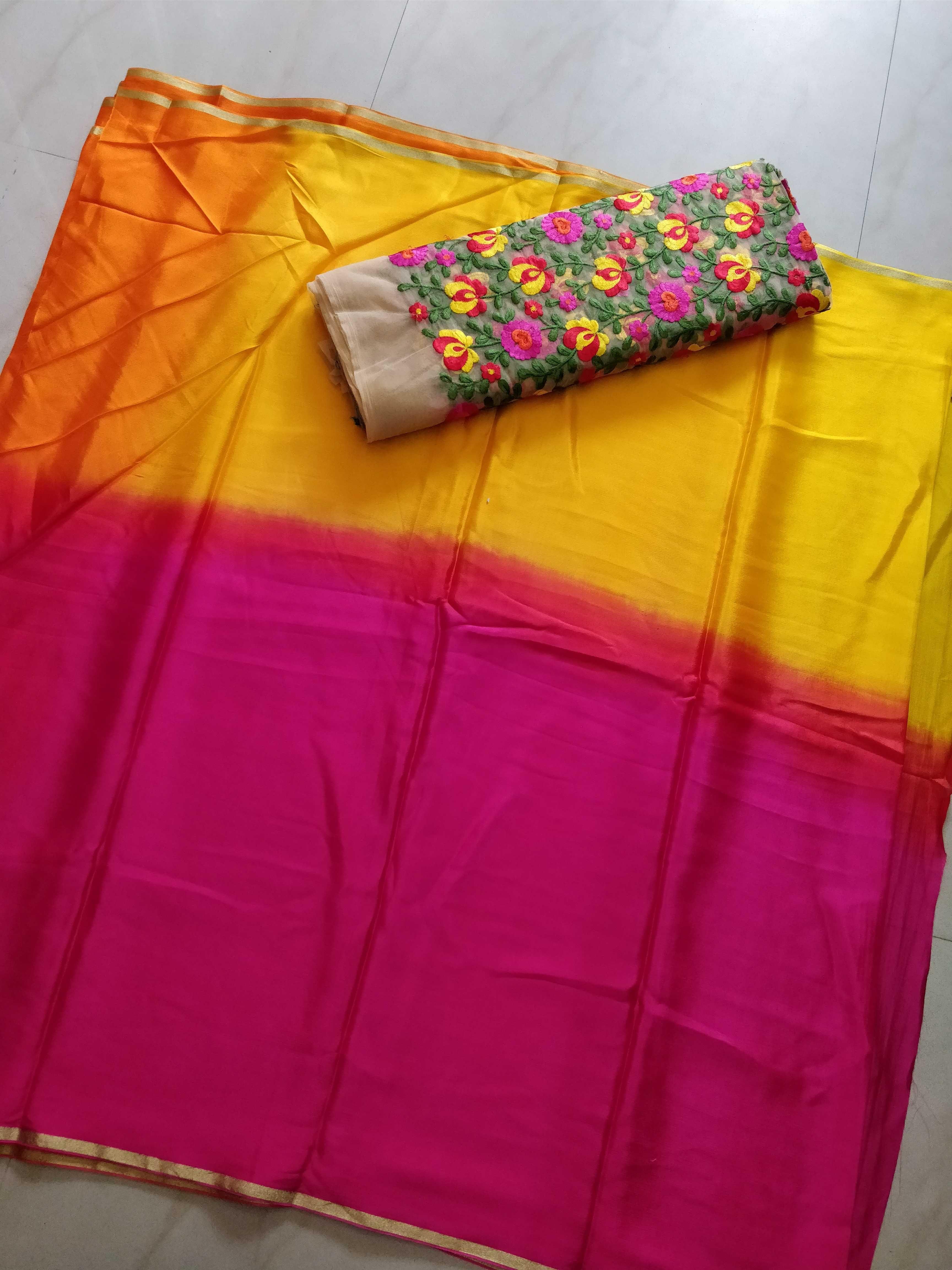 Saree blouse design for chiffon saree chinnon chiffon saree with designer blouse  suji  pinterest