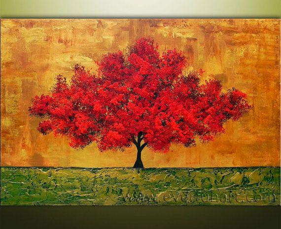 Peinture à L'huile Abstraite Moderne D'arbre (LA1-013