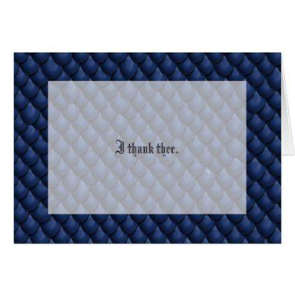 blue dragon scale wedding thank you card dragon scale wedding