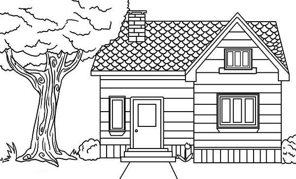 House In The Village In Houses Coloring Page Netart In 2020 Simple House Drawing House Drawing Dream House Drawing