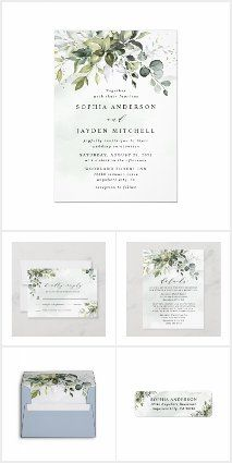 Photo of Dusty Blue Greenery floral wedding invitation set