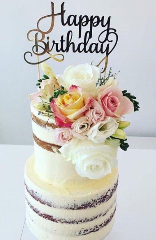 Happy Birthday Cake Topper Gold Glitter Birthday Wishes