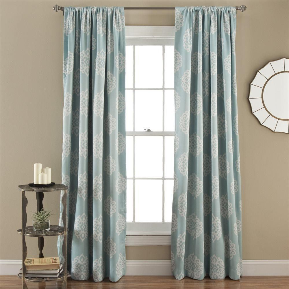 Light blue window curtains - Set Of 2 Blue Damask Medallion Room Darkening Window Curtains Panels Drapes 84 Homeimprovements