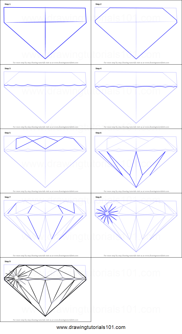 How To Draw A Diamond Printable Step By Step Drawing Sheet