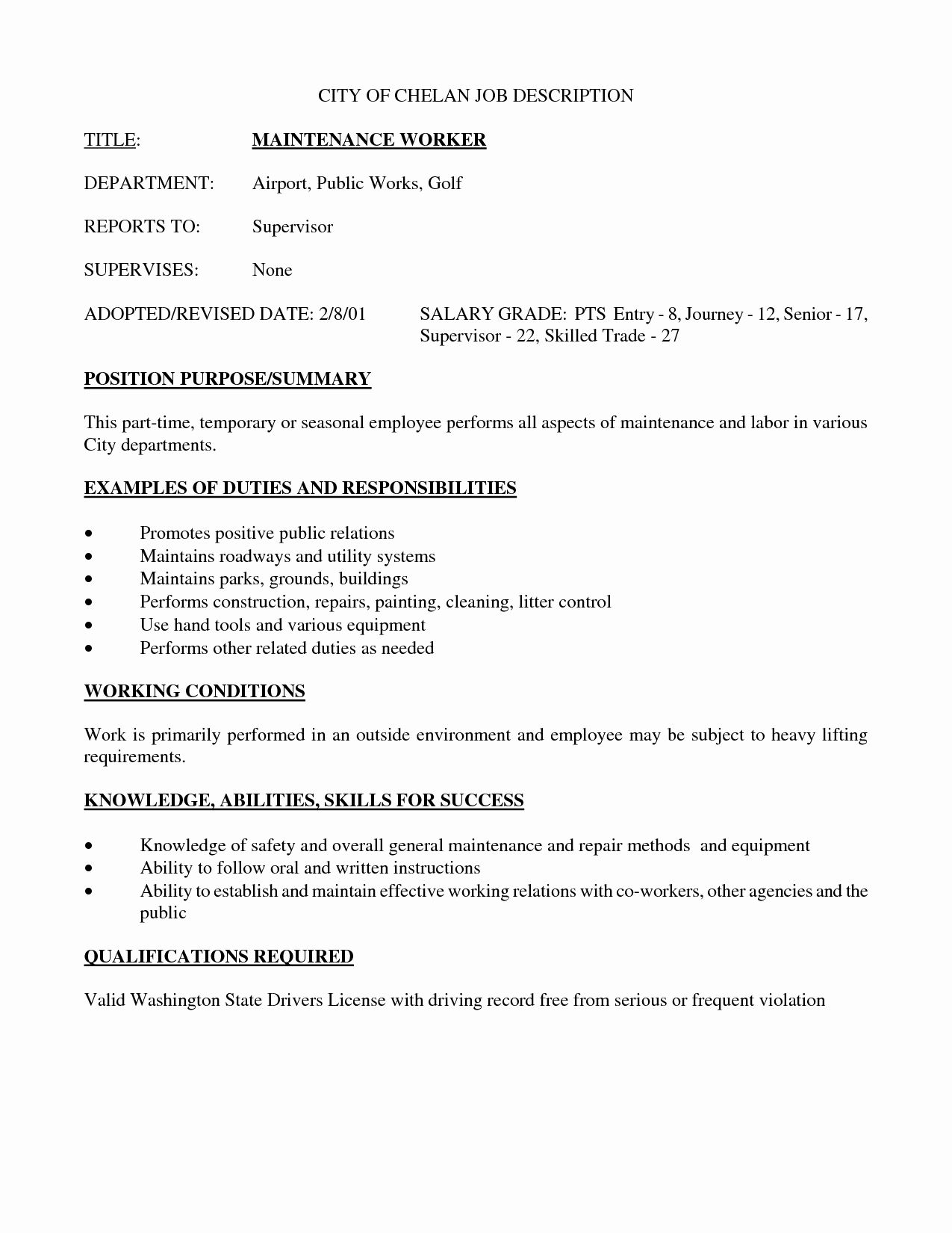 Maintenance Job Description Resume Unique Best S Of