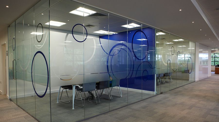 Circular office glass manifestation frost design by space3 for Vinyl window designs
