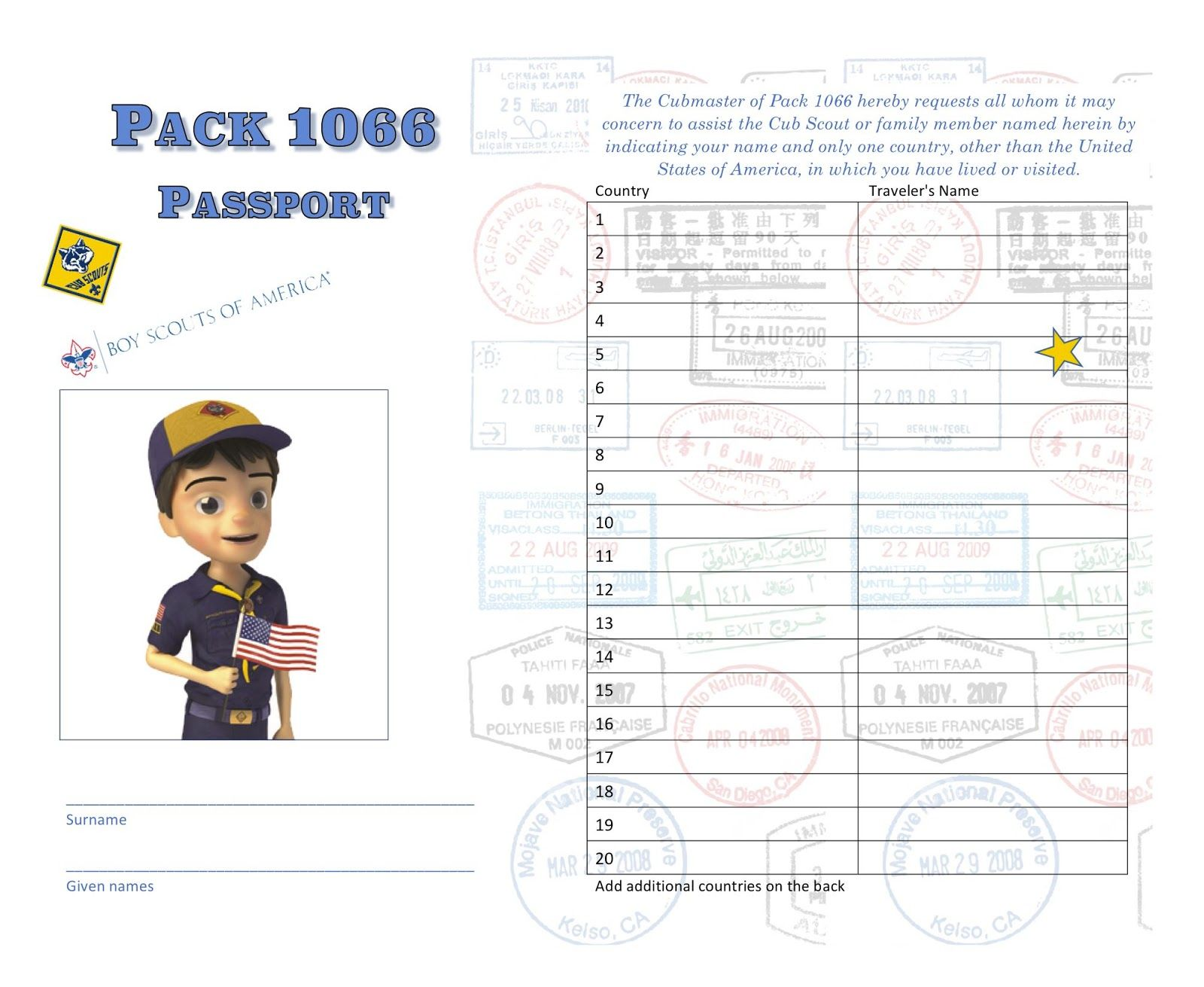 """Passport Cub Scout gathering activity - This is a mingling, get to know you activity for the theme """"Passport to Other Lands"""""""