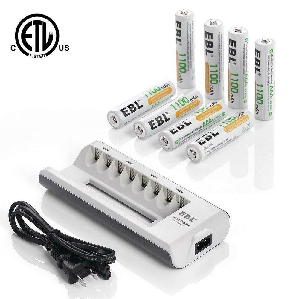 Ebl 8 Slots Lcd Fast Charger For Aa Aaa Nimh Nicd 8 Pieces 1100mah Aaa Ebl Rechargeable Batteries Battery Charger Rechargeable Battery Charger
