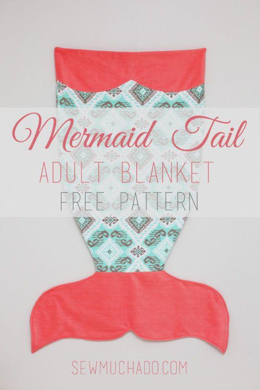 Adult Mermaid Tail Blanket Free Pattern   Mantas sirena, Costura y Sacos