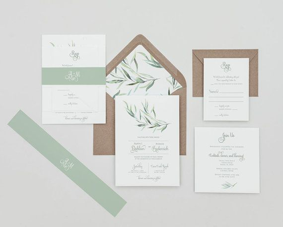 Modern Greenery Wedding Invitations Set ,Eucalyptus Greenery Invitations,  Greenery Winter Wedding Invites,eucalyptus Greenery Spring Wedding