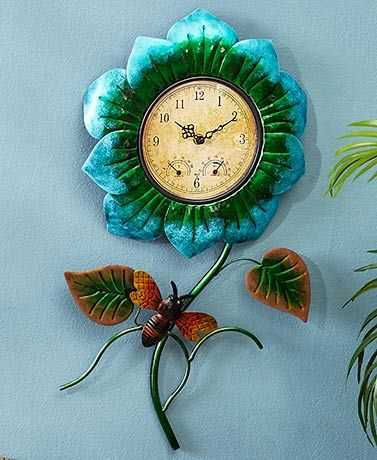 Metal Flower Garden Wall Clocks