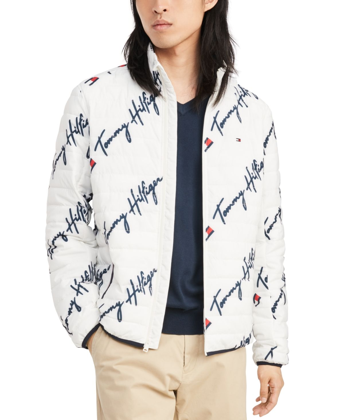 Tommy Hilfiger Men S Insulator Quilted Logo Print Jacket Bright White Multi Winter Outfits Men Tommy Hilfiger Man Tommy Hilfiger [ 1466 x 1200 Pixel ]