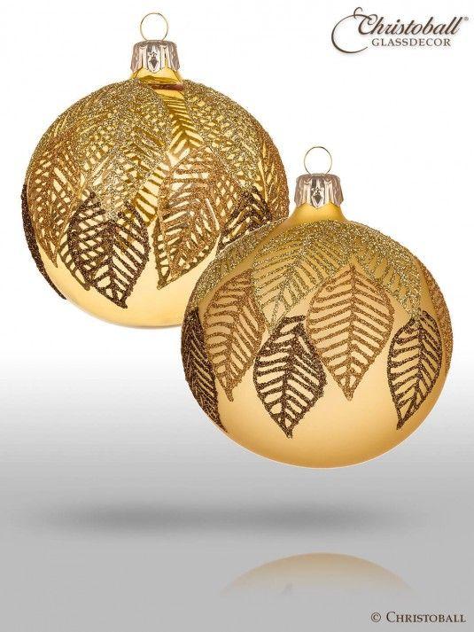Christbaumkugeln Schwarz Gold.Falling Leaves Christbaumkugeln Gold 4er Christoball