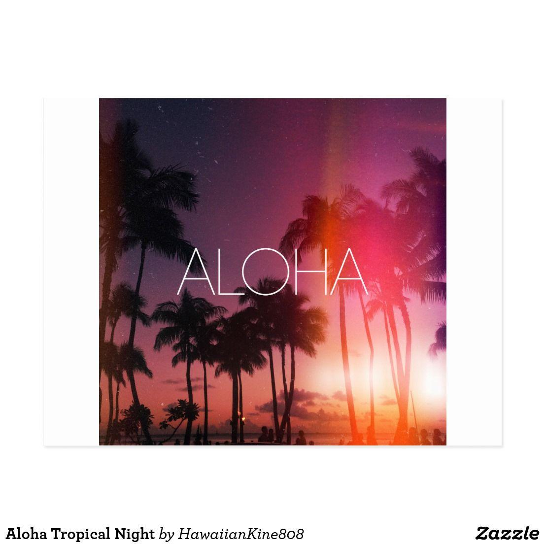 Aloha Tropical Night Postcard Zazzle Ca Palm Wallpaper