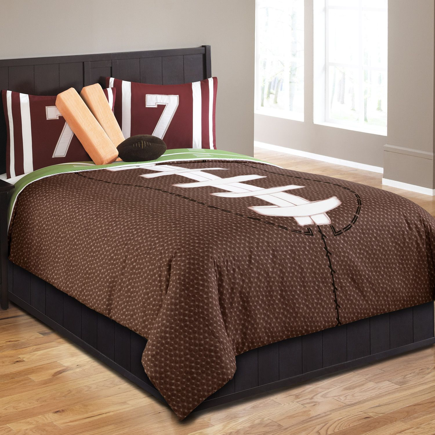 Boys sports bedding sets full - Brown Football Bedding Twin Full Queen Sports Comforter Set With Pillows