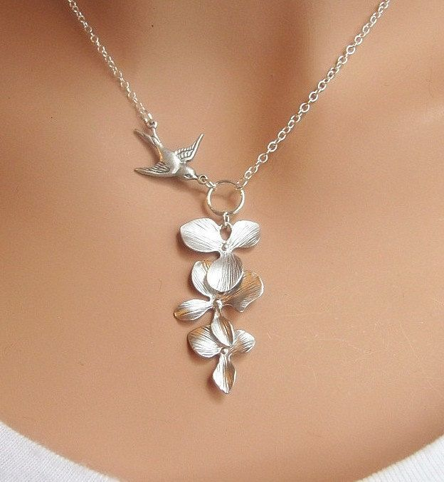 Orchids and Sparrow necklace {again... ANYTHING Etsy}....two of my most favorite things on a necklace.