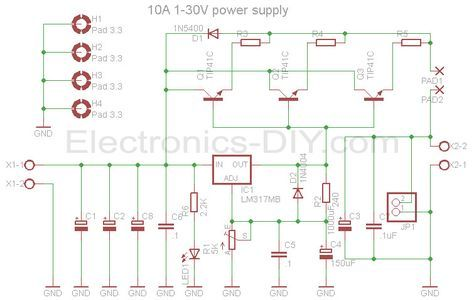 10a 1 30v Variable Power Supply With Lm317 Power Supply Circuit Power Supply Electronic Schematics
