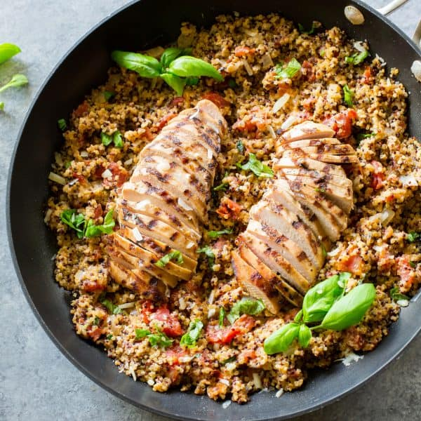 Tomato Basil Chicken Quinoa - an easy one-pan healthy dinner that is done in under 30 minutes.