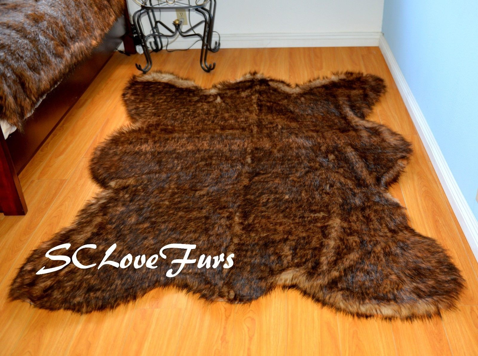 5 X 7 Grizzly Bear Skin Faux Fur Area Rug Plush Lodge Cabin Accents Decors