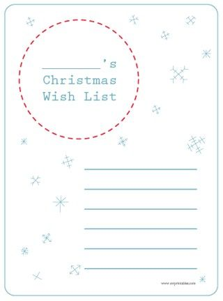 Christmas Wish List Printables - Click image to find more Holidays