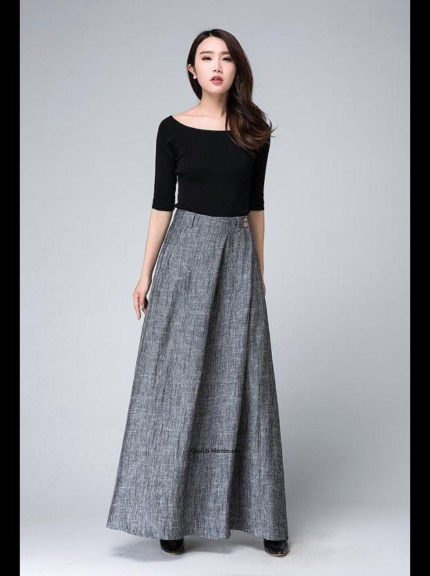 jupes longues lin gris jupe jupe maxi femmes jupe longue. Black Bedroom Furniture Sets. Home Design Ideas