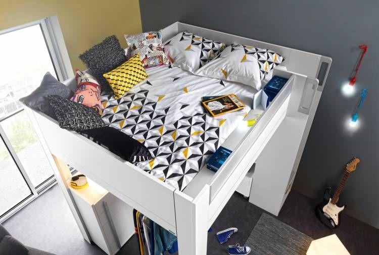 Lit Haut Mezzanine 140x200 Blanc Gris 140x200 Dimix Aménagement